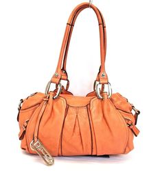 B. Makowsky Christie Tomato Orange Leather Satchel Shoulder Bag #BMakowsky #TotesShoppers
