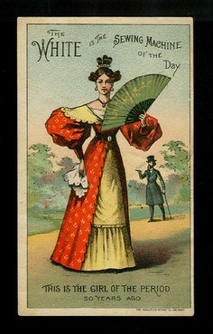 Fashionable Lady of The 1830s Victorian Trade Card White Sewing Machines