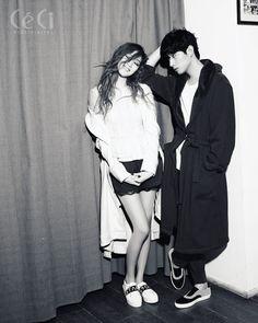 "koreanmodel: ""Lee Seong Kyeong and Yoon Park by Lee Su Jin for Ceci Korea Feb 2015 "" Yoon Park, Lee Sung Kyung, Seong, Jin, Adidas Jacket, Singing, Korea, Athletic, Happiness"