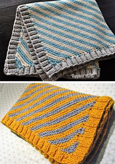 Free knitting pattern for Easy Bias Striped Baby Blanket Easy Knit Baby Blanket, Free Baby Blanket Patterns, Baby Boy Blankets, Knitted Baby Blankets, Crochet Mittens Free Pattern, Easy Knitting Patterns, Baby Knitting, Crochet Baby, Free Knitting