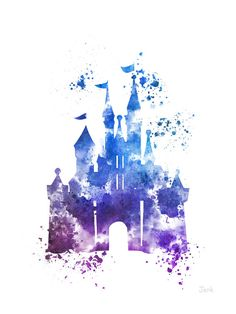 Cinderella Castle ART PRINT 4e illustration Edition, Disney, princesse, technique mixte, Home Decor, pépinière, Kid