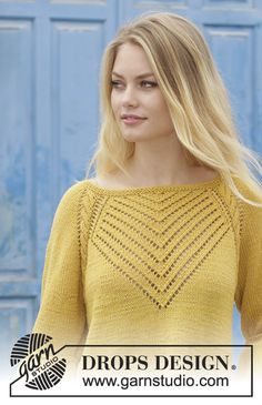 Sweater with cables, lace pattern, raglan and A-shape, knitted top down. Size: S - XXXL Piece is knitted in DROPS Cotton Merino. Sie Hüte von oben nach unten Hello Yellow / DROPS - Free knitting patterns by DROPS Design Cardigan Pattern, Top Pattern, Yellow Pattern, Free Pattern, Lace Knitting, Knitting Patterns Free, Jumpers For Women, Sweaters For Women, Raglan Pullover