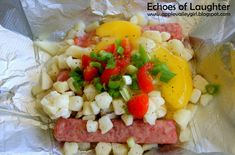 Lumberjack Breakfast -cut up potatoes or frozen hashbrowns -eggs -sausage links -peppers/onions etc.  YUM