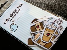 Cute coffee stickers with faces - pack of 12. joeydesign via Etsy.