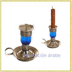 - Porta velas Marroquí de Alpaca y Cristal - Decoración Árabe