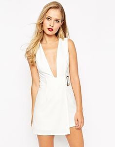 ASOS Premium Origami Plunge Romper with Side Buckle