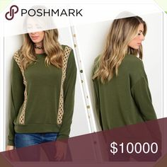 "💚 Olive and Tan Sweater 💚💚 Olive and tan sweater, perfect for the holiday season. 48% Poly 48% Rayon 4% Spandex. Small chest 40"". Med chest 42"" Large chest 44""    Length Sm 24"" and Med, Lg length 26"" Sweaters Crew & Scoop Necks"