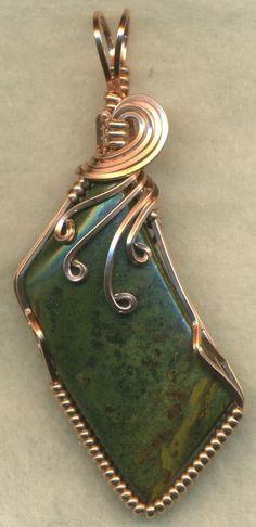 Green Jasper Copper Wire Wrap Pendant