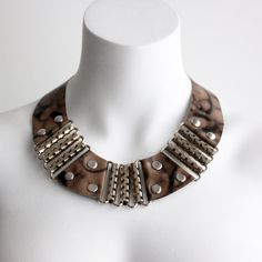 Leather and Metal Warrior Necklace  Marble by iheartnorwegianwood, $75.00