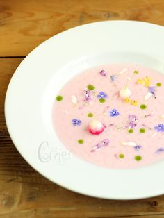 Radish Soup with Yogurt:  As if radish and yogurt soup doesn't sound amazing enough, having a pink soup with flowers in it just makes this. This soup right here is going to get you ALL the Instagram likes. (Delish.com)