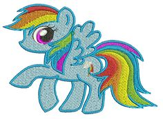 Rainbow Dash Embroidery Design File  4 x 36in by embroiderybygin
