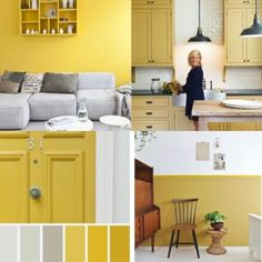 De 7 grootste fouten bij het kiezen van de juiste kleur verf voor je interieur | Fotografie via Pinterest via www.stijlidee.nl Yellow Accents, Entryway Bench, Interior, Kitchen, Color, Furniture, Moodboards, Home Decor, Dna
