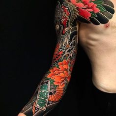 Japanese tattoo sleeve by @tententattoo. #japaneseink #japanesetattoo #irezumi #tebori #colortattoo #colorfultattoo #cooltattoo #largetattoo #armtattoo #chesttattoo #tattoosleeve #dragontattoo #flowertattoo #peonytattoo #scripttattoo #blackwork #blackink #blacktattoo #wavetattoo #naturetattoo