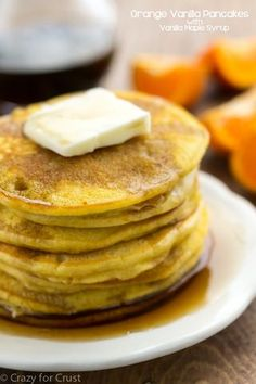 Orange Vanilla Pancakes with Vanilla Maple Syrup