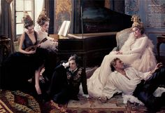 'French Twists' Vogue US May 2004 by Annie Leibovitz - Gemma Ward, Gisele Bundchen, Karen Elson all in Chanel Haute Couture by John Galliano S/S 2004