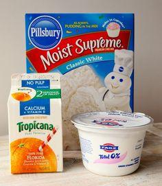 "Cake mix + Greek yogurt + 1 cup OJ = ""Orange Creamsicle Cake"""