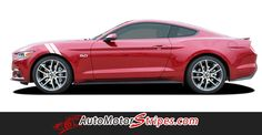 2015-2016 Ford Mustang Double Bar Hood to Fender Hash Mark Side Stripes Vinyl Graphics 3M Decal