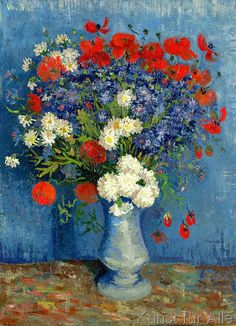 Vincent van Gogh Vase with Cornflowers and Poppies painting is shipped worldwide,including stretched canvas and framed art.This Vincent van Gogh Vase with Cornflowers and Poppies painting is available at custom size. Vincent Van Gogh, Van Gogh Art, Art Van, Fleurs Van Gogh, Van Gogh Flowers, Van Gogh Still Life, Art Beauté, Van Gogh Paintings, Post Impressionism