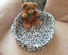 Polka Dot Indoor Cat/Small Dog Bed Eco-Friendly Chunky Round   Etsy Puppy Beds, Pet Beds, Dog Cave, Crochet Pet, Toy Storage Baskets, Dog Beds For Small Dogs, Recycled Yarn, White Kittens, Little Dogs