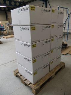 Rotaid cabinets awaiting shipment.