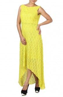 Lime Green Lace Asymmetrical Dress  Rs. 4,220