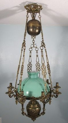 French Antique Bronze Chandelier Louis Xvi Style Hanging Oil Lamp W Cherubs