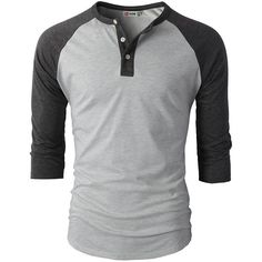 H2H Mens Casual Slim Fit Raglan Baseball Three-Quarter Sleeve Henley... ($19) ❤ liked on Polyvore featuring men's fashion, men's clothing, men's shirts, men's t-shirts, mens raglan shirts, mens baseball shirts, mens t shirts, mens henley shirts and mens raglan t shirt