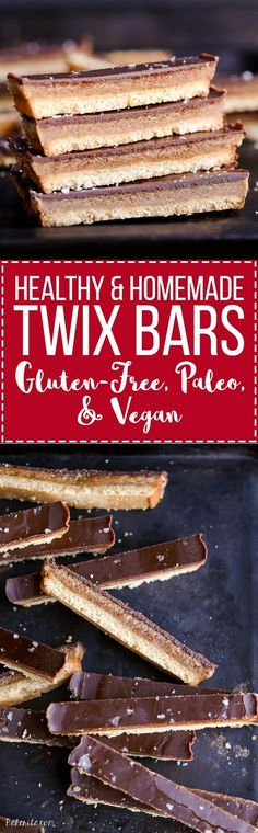 This recipe for healthy homemade Twix Bars is a game changer! When you take a bite, you won't believe that this candy bar copycat is gluten-free, refined sugar free, Paleo, and vegan. Paleo Dessert, Gluten Free Desserts, Healthy Desserts, Delicious Desserts, Dessert Recipes, Yummy Food, Snacks Recipes, Diy Snacks, Health Desserts
