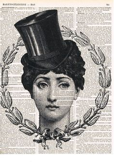 Fornasetti.Top hat.collage.Gift.Vintage Book by studioflowerpower, $8.50