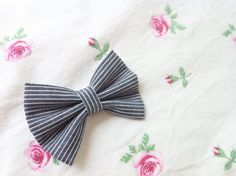 Navy & White Stripe Bow  Available in Medium ($6) and Large ($8)