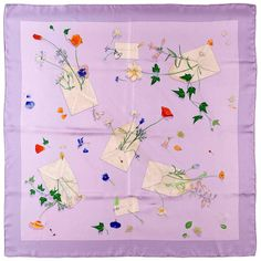 Hermes Silk scarf 'Des Fleurs pour le Dire' by Leigh P Cooke | From a collection of rare vintage scarves at https://www.1stdibs.com/fashion/accessories/scarves/