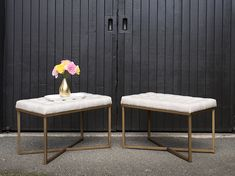 Button tufted upholstered bench in a cream fabric with warm gold metal legs. Useful in a lounge vignette or paired with a tray and flowers as a coffee table. Upholstered Bench, Tufting Buttons, Mid-century Modern, Ottoman, Mid Century, Lounge, Rustic, Warm, Chair