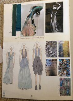 Fashion Sketchbook - fashion design drawings & fish inspirations; fashion portfolio // Hana Rutledge
