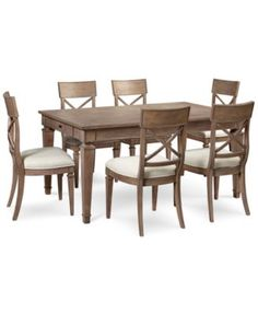 Crossley Natural Solid Oak Dining Set 6ft Table with 6 Scroll