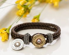 Bullet Jewelry - Leather Bullet Bracelet with Interchangeable Nickel/Brass (20 Gauge)