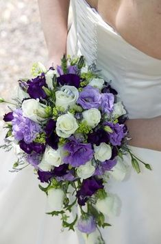 Purple and White Bride Bouquet If I (Jennifer) was having a wedding this would be the bouquet for me! Purple and White Bride Bouquet If I (Jennifer) was having a wedding this would be the bouquet for me! Cascading Bridal Bouquets, Purple Wedding Bouquets, Bride Bouquets, Flower Bouquet Wedding, Wedding Colors, Bridesmaid Bouquets, Wedding Ideas, Flower Bouquets, Trendy Wedding