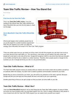 Team Site Traffic is a new product from Gavin Mountford. Team Site Traffic will help you to grow your business in any business you are in. Articles, Writing, Website, Being A Writer