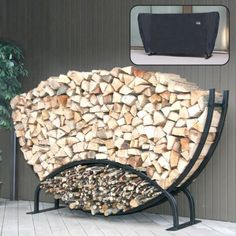 8 Ft. Half Moon Log Rack With Free Cover
