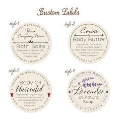 Add style to your handmade soaps, lotion, cream, body oils and other handmade all natural bath and body products with these pre-designed round labels; custom pr