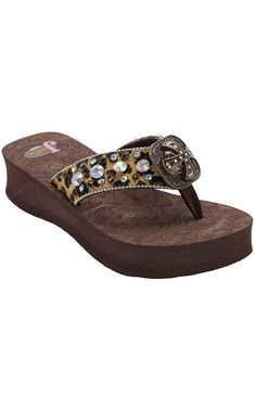 Justin® Emily™ Women's Brown/Black Leopard Print Jeweled Flip-Flop by M&F®