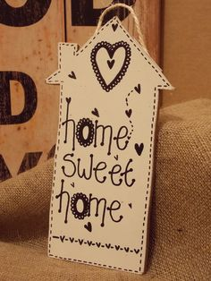 Handmade Wooden Home Sweet Home Hanging Wall Plaques, Wall Plaques, Wall Signs, Baby Cartoon, Baby Socks, Handmade Wooden, Sweet Home, Pure Products, Wool, Frame