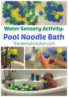 Pool Noodle Bath: Water Sensory Activity + Learning Colors and Patterns | The Jenny Evolution