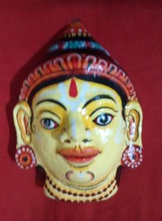 A pattachitra paper mask of Laxman a by PattachitraNet on Etsy