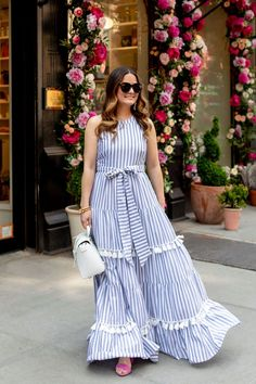 Eliza J Tiered Tassel Fringe Dress Stripe Maxi Nordstrom - Summer Dresses Dress Outfits, Casual Dresses, Girls Dresses, Summer Dresses, Striped Maxi Dresses, Cotton Dresses, Hijab Fashion, Fashion Dresses, Fringe Dress