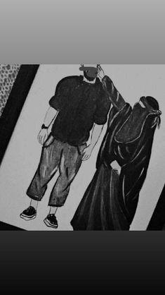 Cute Muslim Couples, Muslim Girls, Cute Couples, Cartoon Girl Drawing, Girl Cartoon, Tumblr Outline Drawings, Best Love Wallpaper, Cute Baby Boy Images, Girl Iphone Wallpaper