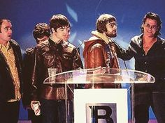 """#Oasis at the #1996 #BritAward. #NoelGallagher later called their behaviour that night """"Ecstasy abuse on a massive scale"""" Photo by #NME #oasismaniaitalia #oasismaniaday #oasismusic #britpop #oasismaniaofficial #liamgallagher #britawards1996 #oasismaniauk"""