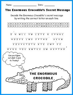 Enormous Crocodile Fun Secret Message Puzzle Printable Worksheets Roald Dahl