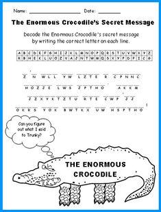 Enormous Crocodile Fun Secret Message Puzzle Printable Worksheets Roald Dahl