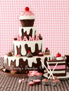 """Yum, and so gorgeous. Love this tiered cake...could use blue for a boy and """"parents"""" where """"momma"""" is it's  a couples shower!"""