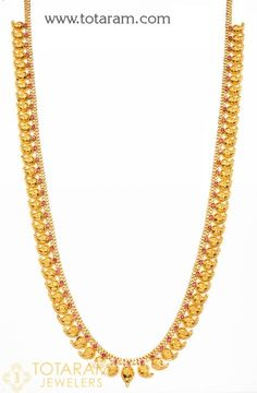 <br /> 22 Karat Gold Mango Necklace With Red Stones <br /> Gross Gold Weight: - grams <br /> Length : inches<br /> Gold Chain Design, Gold Bangles Design, Gold Earrings Designs, Gold Jewellery Design, Gold Jewelry, Necklace Designs, Jewelry Accessories, Mango Necklace, Gold Necklace